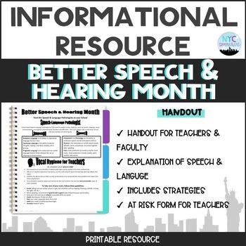 May is...Better Speech & Hearing Month Handout