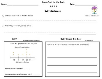 May second Grade Common Core Morning Bell Work