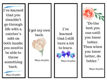Maya Angelo Quote Bookmarks or borders