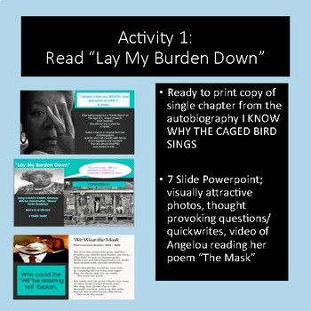 "Maya Angelou Author Study, ""Lay My Burden Down"" Reading and Response"