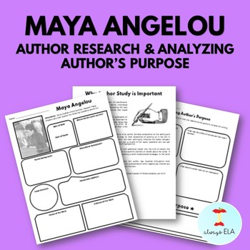 Maya Angelou - Author Study Worksheet, Author's Purpose, Author Research, Bio