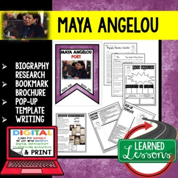 Maya Angelou Biography Research, Bookmark, Pop-Up, Writing