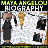 Maya Angelou Reading Passage, Biography Report, & Comprehension Activities
