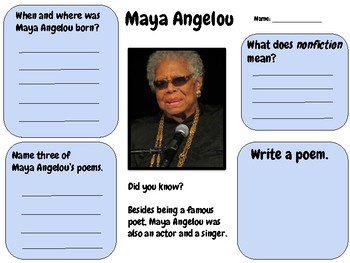 Maya Angelou - Research Activity (Women's History Month)