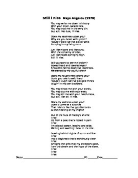 """Maya Angelou, """"Still I Rise"""", T-Chart, Comprehension Exercises with Key"""