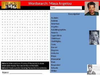 Maya Angelou Wordsearch Black History Month Keywords Settler Homework Cover