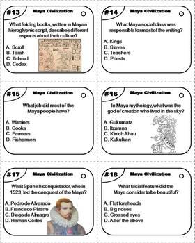 Maya Civilization Task Cards