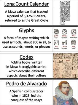 Maya Civilization Word Wall Cards