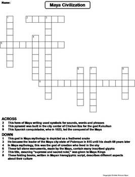 Maya Civilization Worksheet/ Crossword Puzzle
