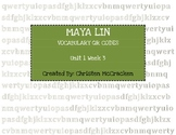 Maya Lin: Architect of Memory QR Code Vocabulary Scavenger Hunt
