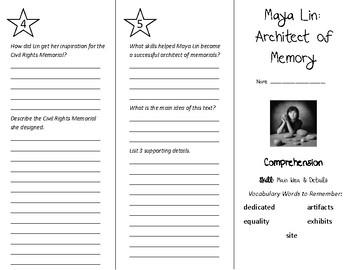 Maya Lin: Architect of Memory Trifold - Treasures 5th Grade Unit 1 Week 3 (2011)