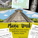 Maya Unit: Teach about the Mayans in Mexico! Reading, Game, Coloring