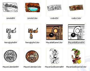 Mayan Empire Clip-Art: 16 Pieces BW and Color