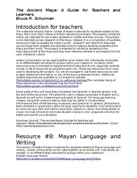 Mayan Language & Writing