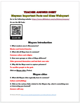 Mayan Webquest and Journal Activity (2 Lesson Plans)
