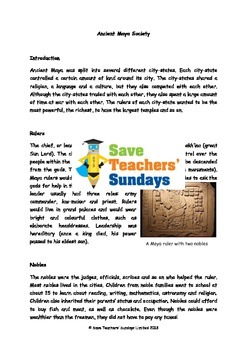 Mayan Society Lesson plan, Information text and Worksheet