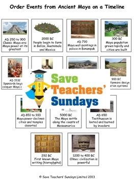 Mayan Timeline Lesson plan and Worksheet / Activity