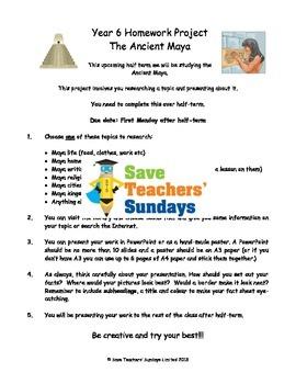 Mayans homework project & presentation Lesson plan & Letter for parents