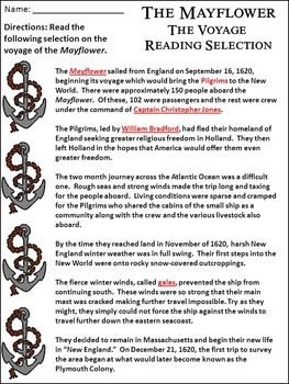 Mayflower Activities: The Mayflower Thanksgiving Activity Packet