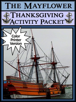 Mayflower Activities: The Mayflower Thanksgiving Activity - Color Version