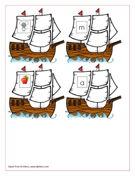 Mayflower Beginning Sound Picture/Letter Match (a, c, m, p, s, t)