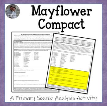 Mayflower Compact American Document Analysis Activity U.S. Settlement