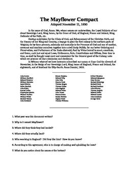 Mayflower Compact DBQ Primary Resource Activity