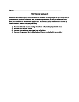 Mayflower Compact Group Activity