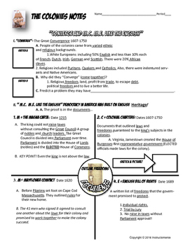 Mayflower Compact, Magna Carta, Colonial Charters Cloze Notes Graphic Organizer