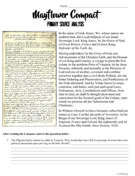 Mayflower Compact Primary Source Analysis