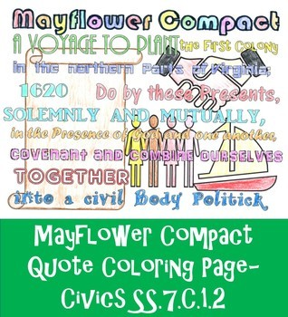 Mayflower Compact Quote Coloring Page- Civics SS.7.C.1.2