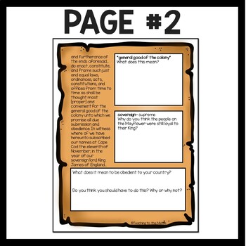 Mayflower Compact Reading Comprehension Worksheet