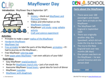 Mayflower Day CLIP (Creative Learning in a Pinch) Sept. 16