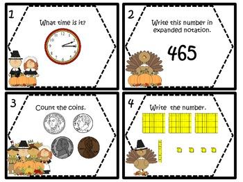 Mayflower Math Task Cards