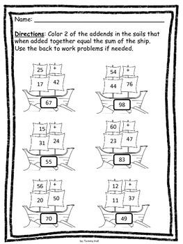 Mayflower Math: 2 digit addition FREEBIE!