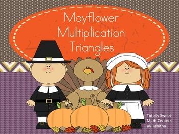 Mayflower Multiplication Triangles- A Thanksgiving Center!