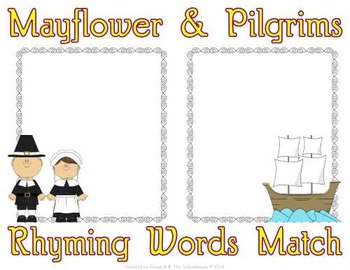 Rhyming Words Match Mat and Worksheet with Pilgrims on the Mayflower