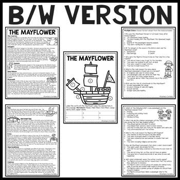 Mayflower Reading Comprehension Worksheet Plymouth, Pilgrims, Thanksgiving