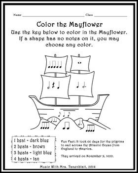 Mayflower Rhythm Coloring Worksheet