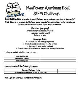 Mayflower STEM Activity