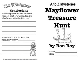 Mayflower Treasure Hunt by Ron Roy - Mini-workbook with Answer Key