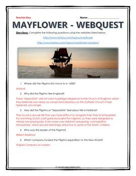 Mayflower - Webquest with Key (13 Colonies)