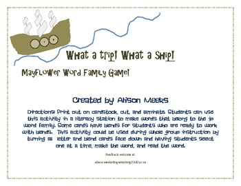 Mayflower Word Family Game: What a Trip! What a Ship!
