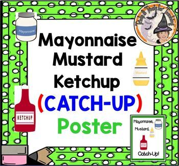 Mayonnaise Mustard Ketchup CATCH-UP Poster Classroom Time Management Keeper
