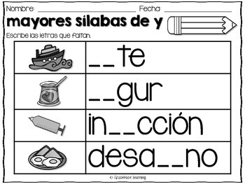 Mayores sílabas  – Spanish Phonics Practice for ya, ye, yi, yo, yu