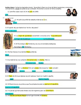 Mayúsculas y minúsculas. Engaging Worksheet or Test W Answer Key! Capitalization