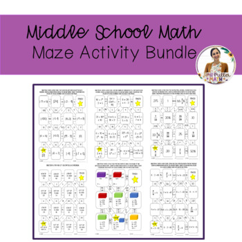 Middle School Math Maze Activity Bundle
