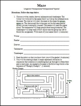 Maze Activity Template and Rubric