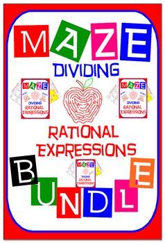 Maze - BUNDLE Dividing Rational Expressions (3 Mazes = 34 Questions)