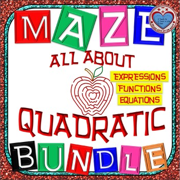 Maze -MEGA  BUNDLE Quadratic Functions (27 Mazes) - 87+ Pages